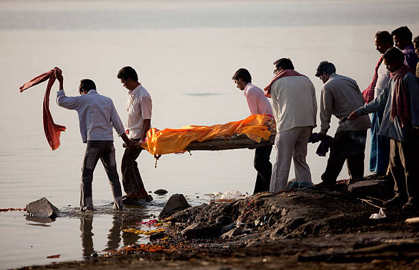 Hindu funeral ceremony stock photo