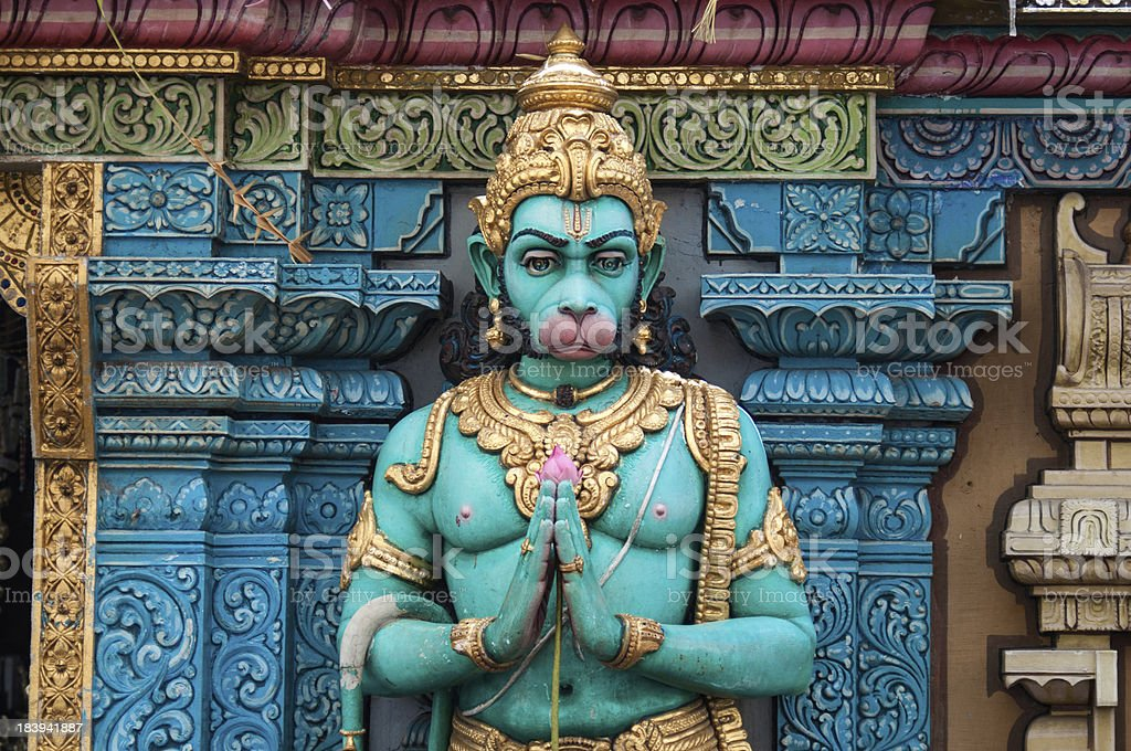 Hindu God - Hanuman in folded hand stock photo
