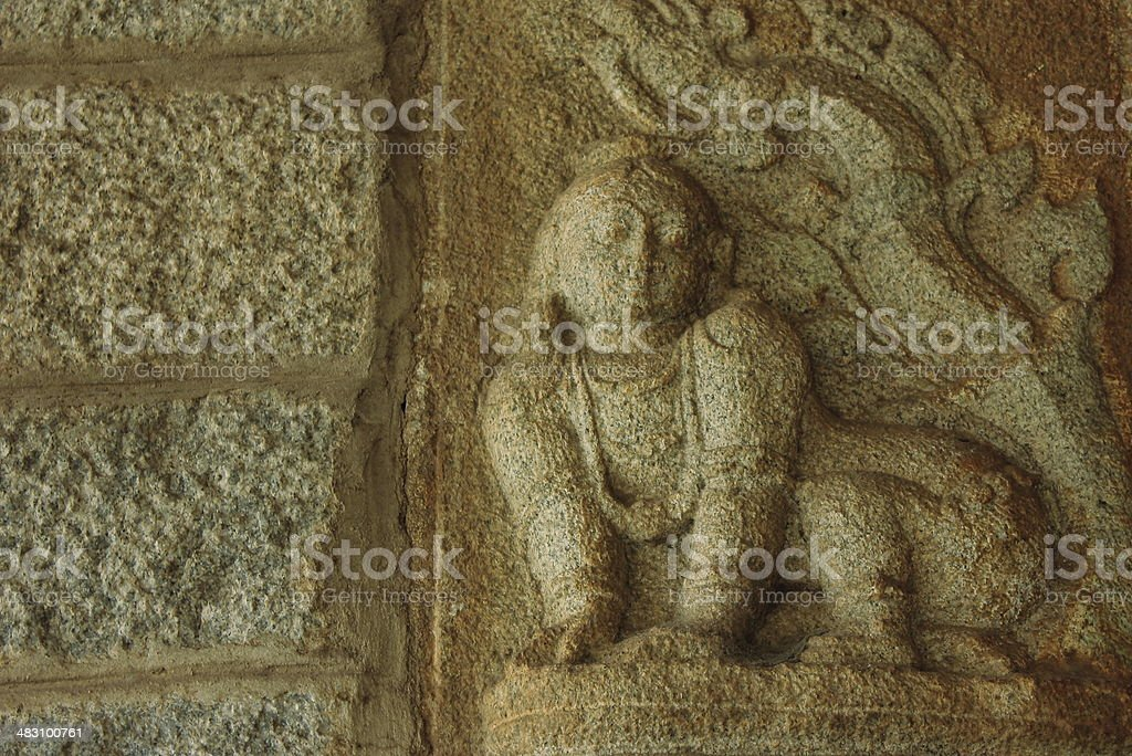 Hindu god Krishna childhood sculpture stock photo