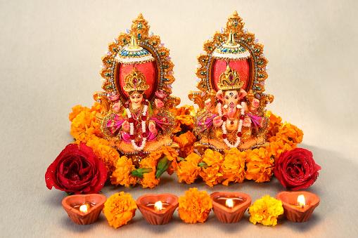 Hindu God Laxmi Ganesh at Diwali Festival