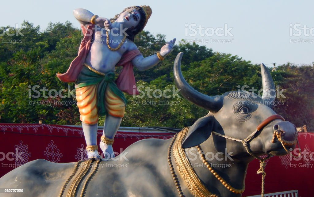 Hindu God Sri Krishna on Buffalo idol during karthika deepam ustav lighting 1 crore lights, Hyderabad,India foto stock royalty-free