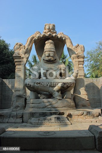 istock Hindu God Ugra Narasimha temple in Hampi 484469055
