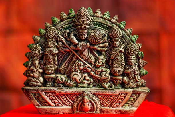 hindu goddess devi durga clay idol stock photo