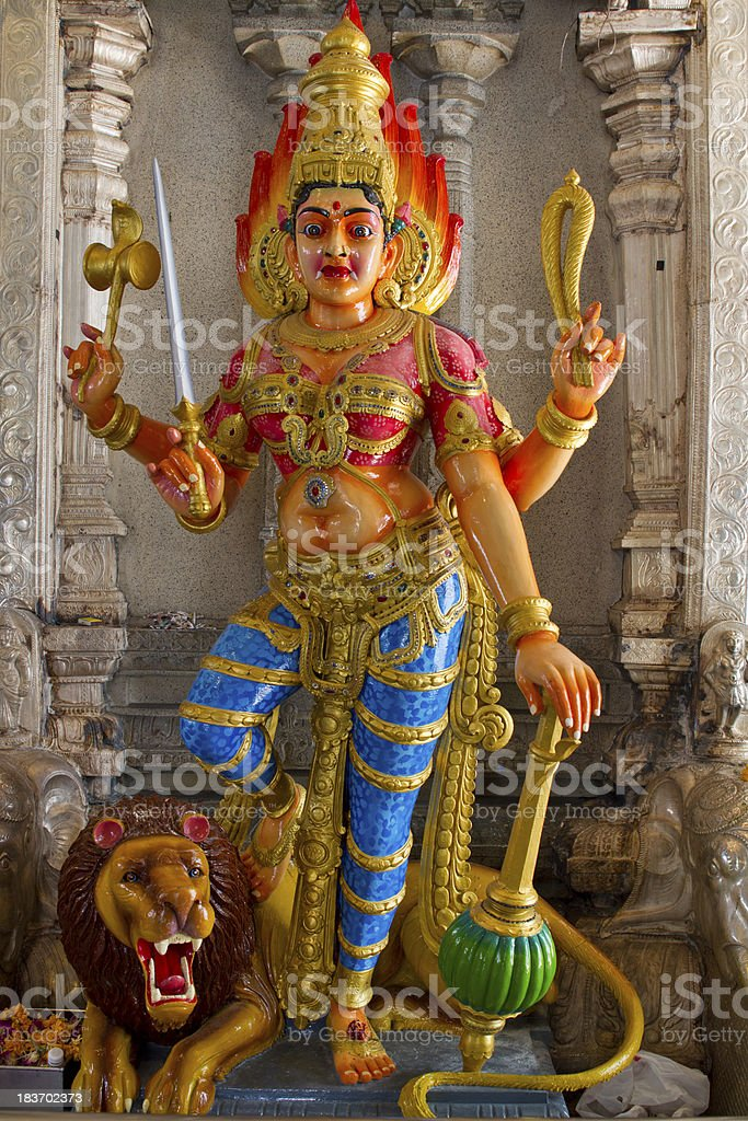 Hindu Goddess Durga on Lion stock photo