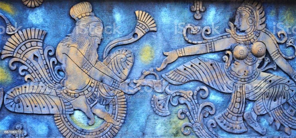 Hindu gods carvings stock photo