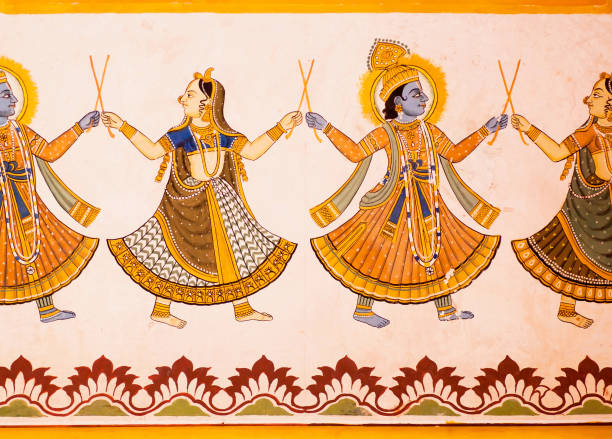 hindu gods dancing on a fresco with colorful paints on carved wall of 19th century house in india. - hinduism stock photos and pictures
