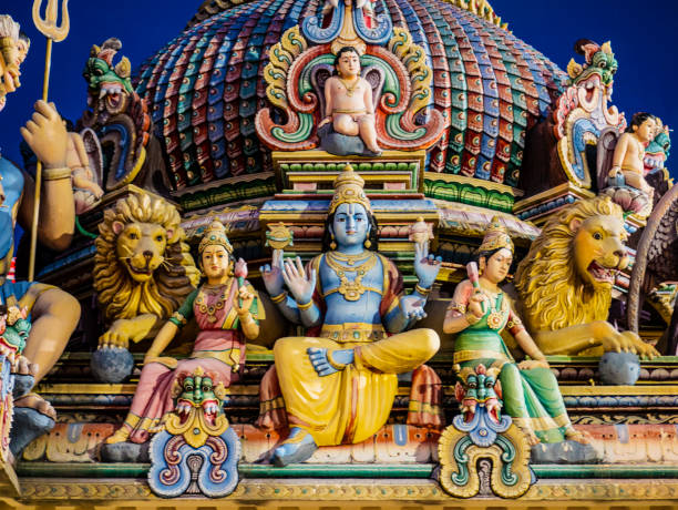 hindu gods decoration in sri mariamman temple singapore - hinduism stock photos and pictures
