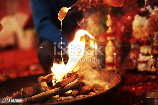 Hindu ritual hawan fere on wedding day.