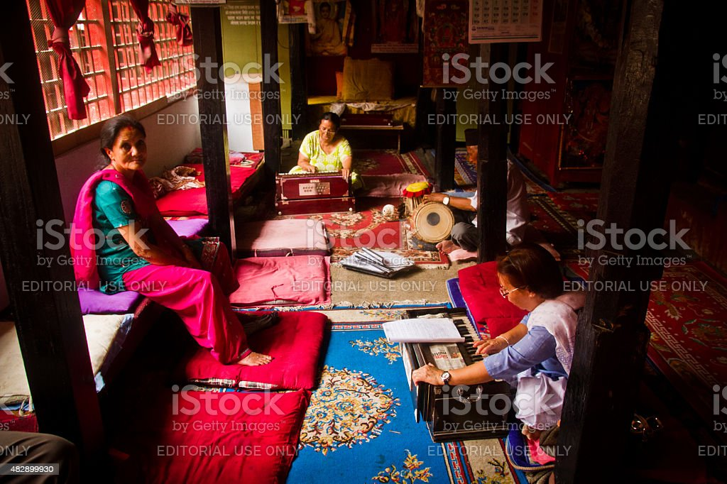 Hindu musical group play together in a temple, Kathmandu Nepal stock photo