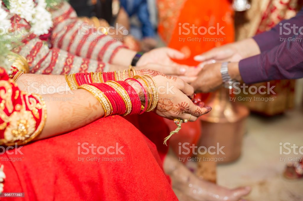 Hindu Nepali Bride and Groom's Hands stock photo