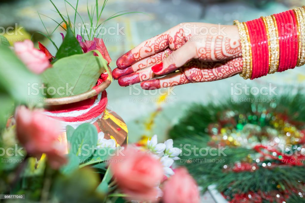Hindu Nepali Bride's Hand stock photo