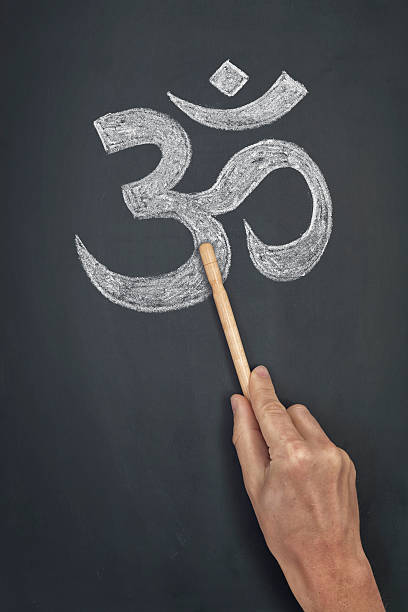 Symbole hindouiste de Symbole om sur le tableau - Photo
