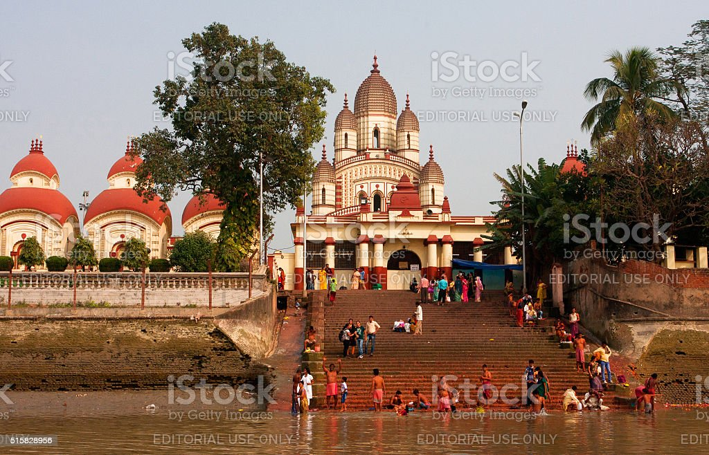 Hindu people bathing in the ghat near Kali Temple stock photo