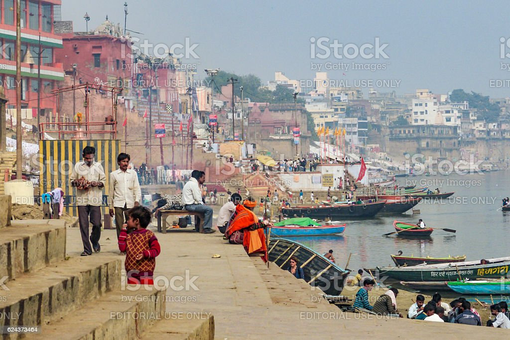 Hindu people wash themselves in the river Ganga stock photo
