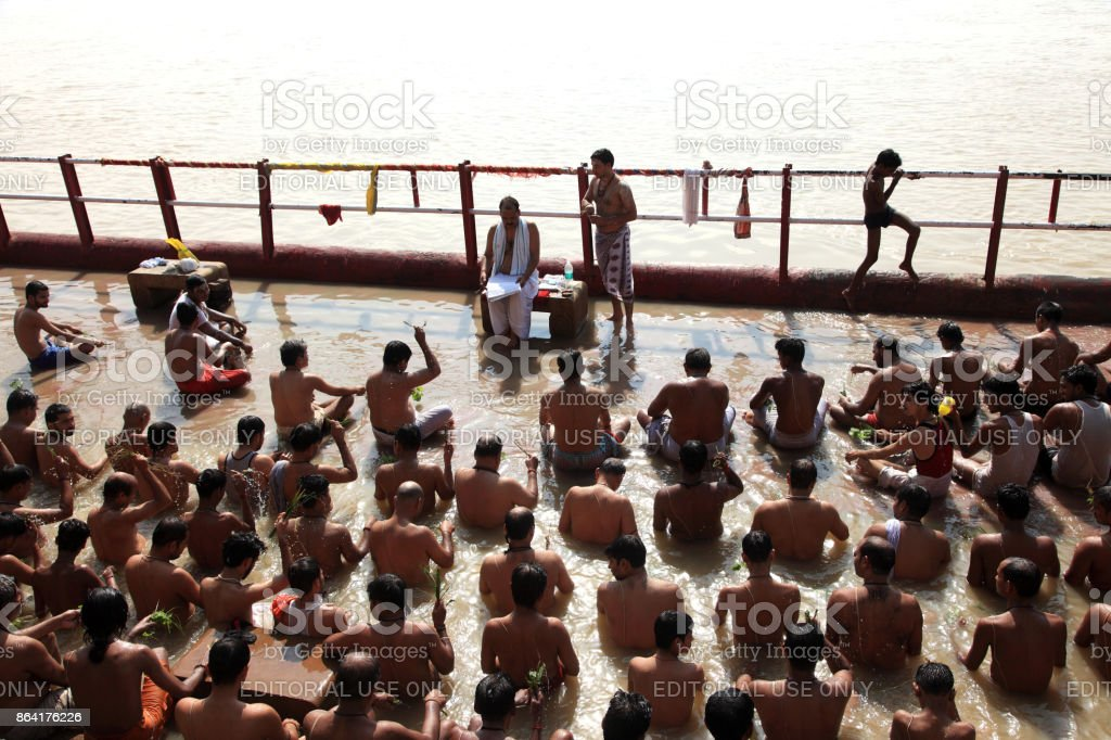 Hindu religious rituals in the Ganges royalty-free stock photo