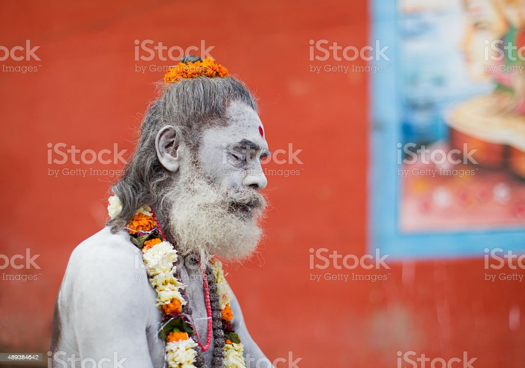 Hindu sadhu in Varanasi, India stock photo