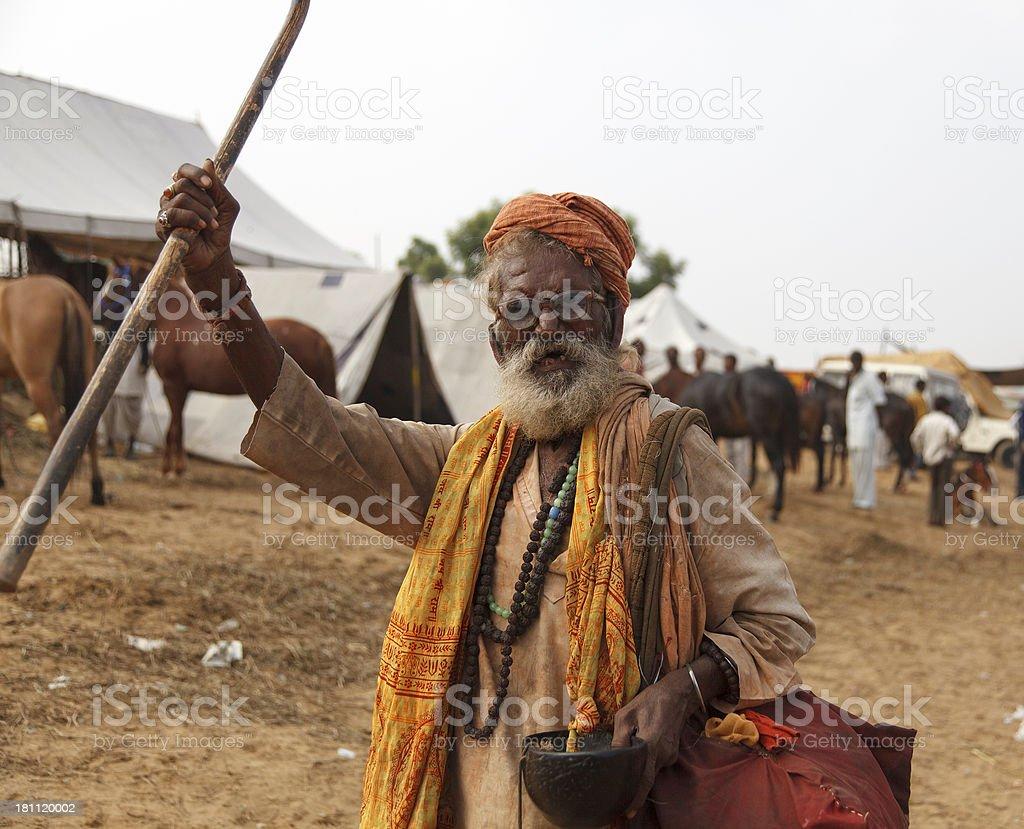 Hindu Sadhu waving cane stock photo