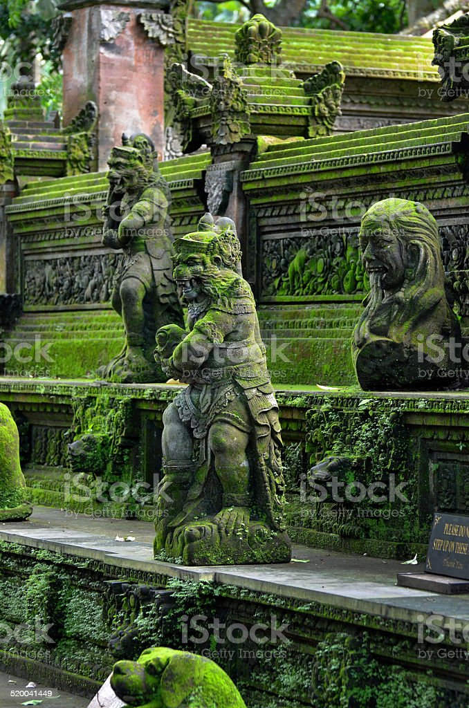 Hindu statues in temple, bali, indonesia stock photo