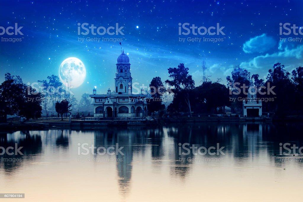 Hindu temple at night stock photo