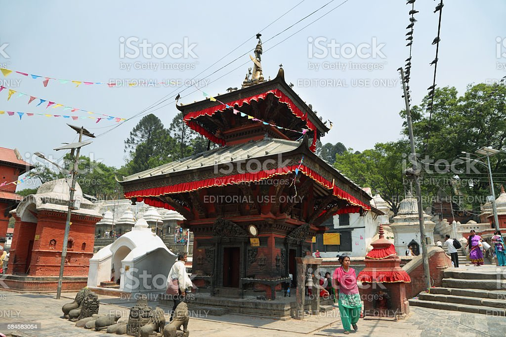 Hindu temple dedicated to Pashupatinath in Kathmandu, Nepal. stock photo
