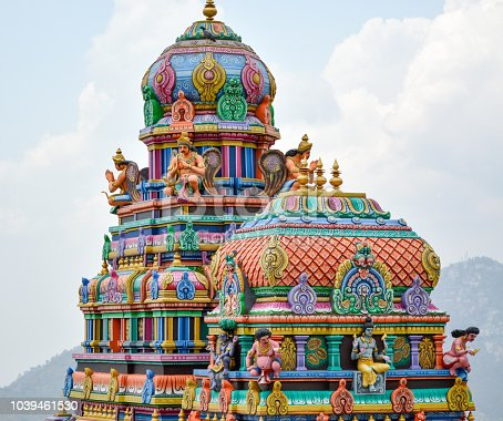 bright colored photo of Hindu temple located in Shimla, Hill Station in India