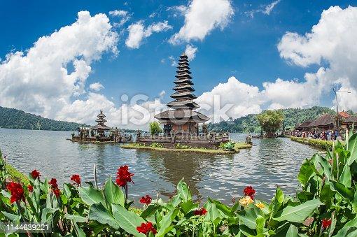 Hindu temple surrounded by flowers on the lake. Pura Ulun Danu Bratan, Bali, Indonesia