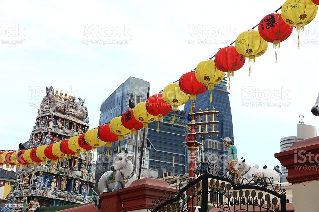 Hindu Temple with Chinese Lanterns in Singapore stock photo