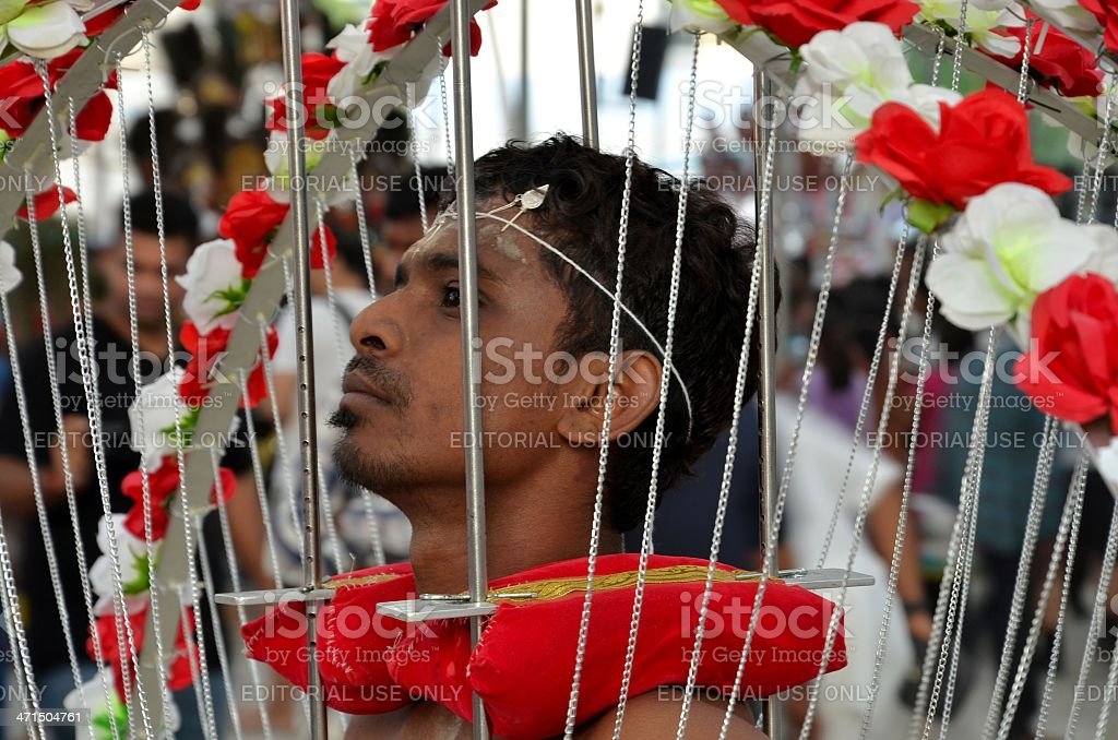 Hindu Thaipusam festival: pierced devotee in Singapore stock photo