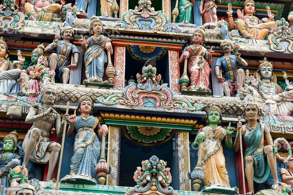 Hinduism statue of Sri Mariamman temple in Singapore stock photo