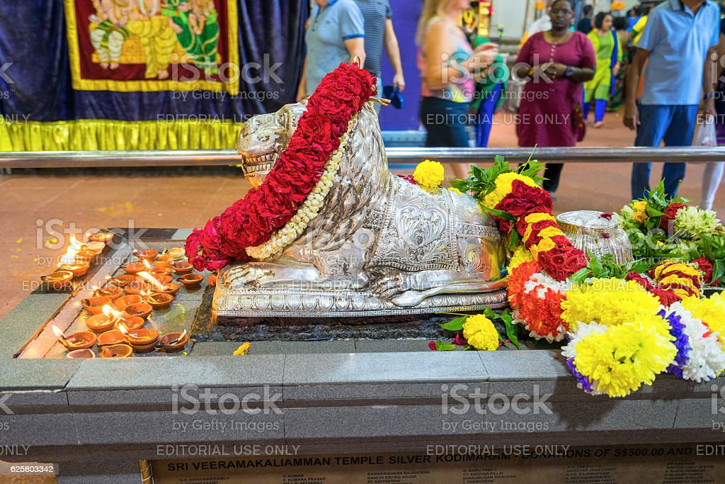 Hinduism statue of Sri Srinivasa Perumal Temple at Little India stock photo