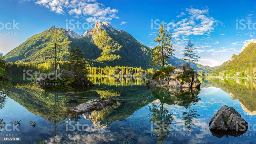 Hintersee - Bavarian lake in Berchtesgaden National Park stock photo