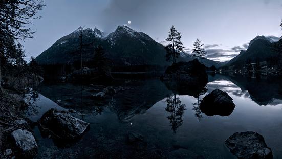 Hintersee Bavarian under the moonlight