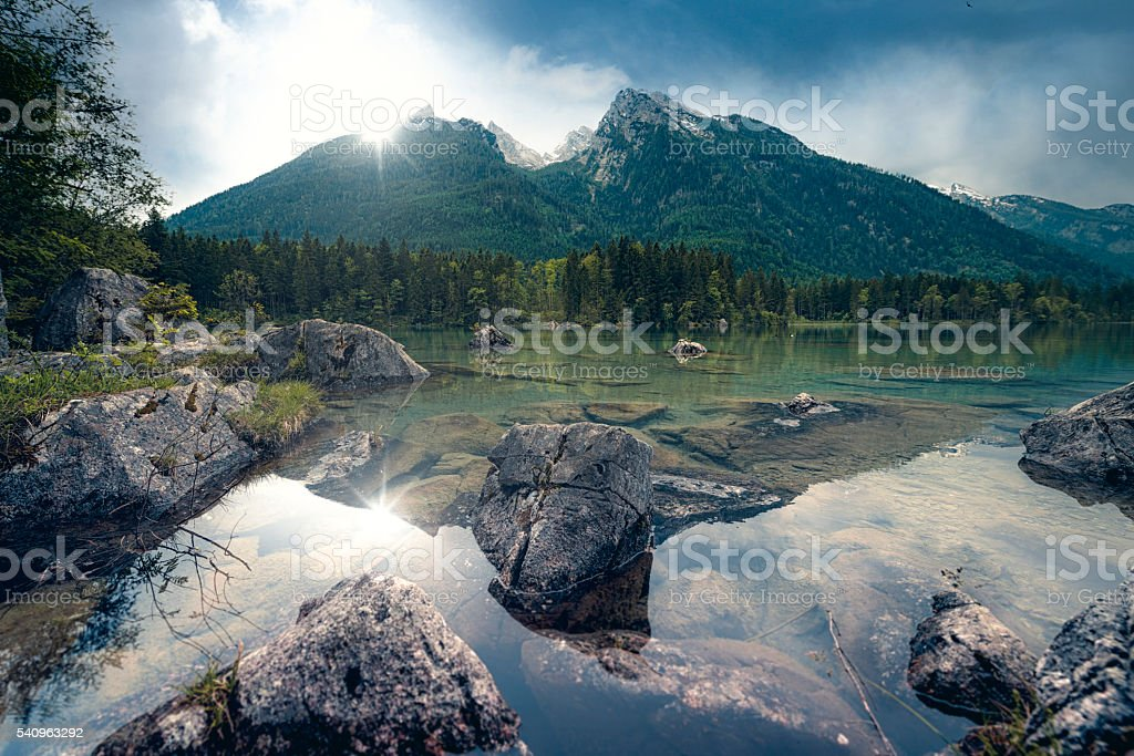 hintersee in bavaria stock photo