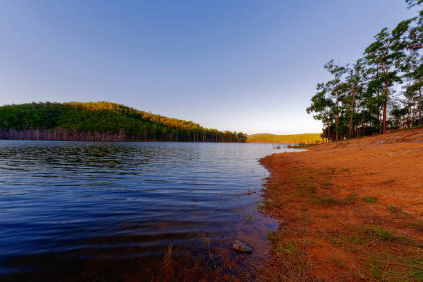 Hinze Dam at dusk stock photo