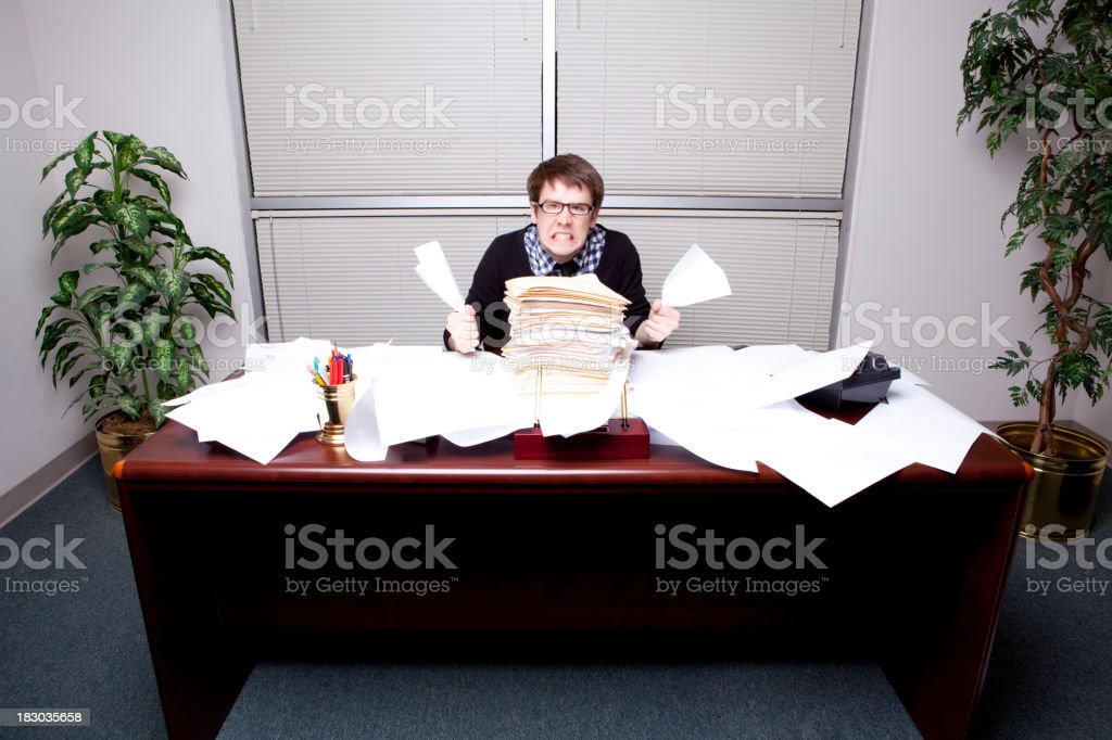 Hip Business Man and Too Many Files royalty-free stock photo