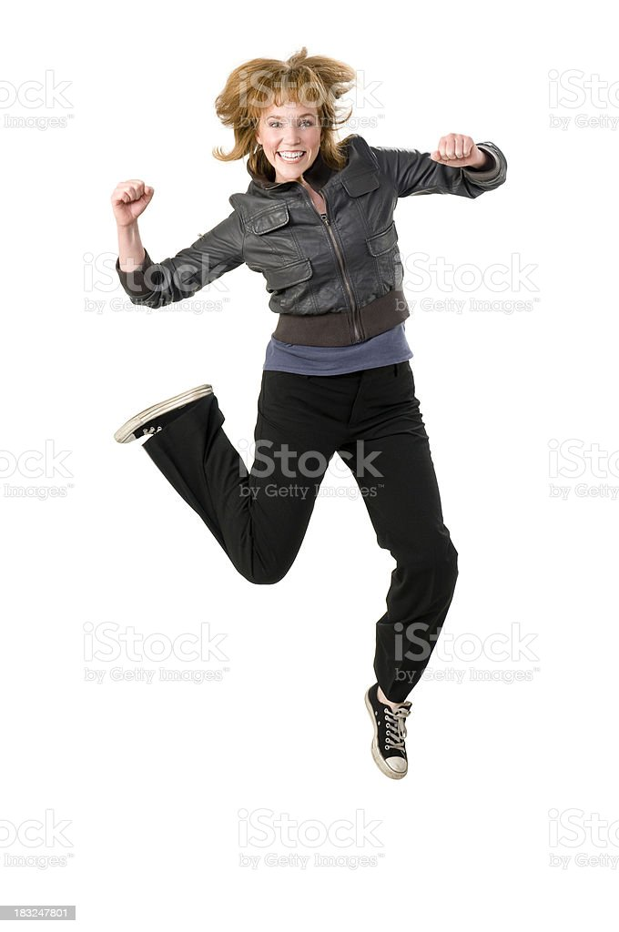 Hip Ecstatic Woman Jumping royalty-free stock photo