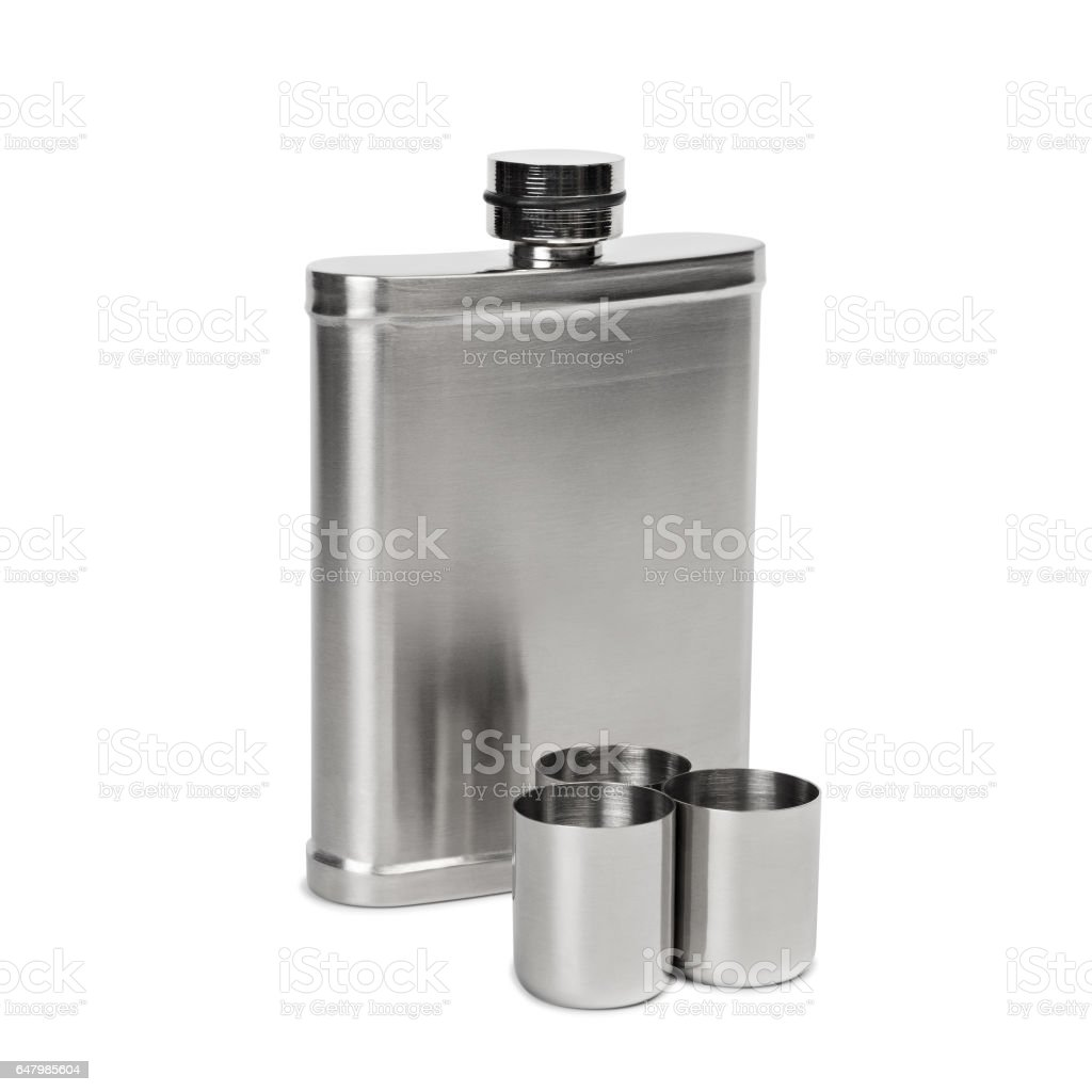 Hip flask and cups with white background with clipped path stock photo