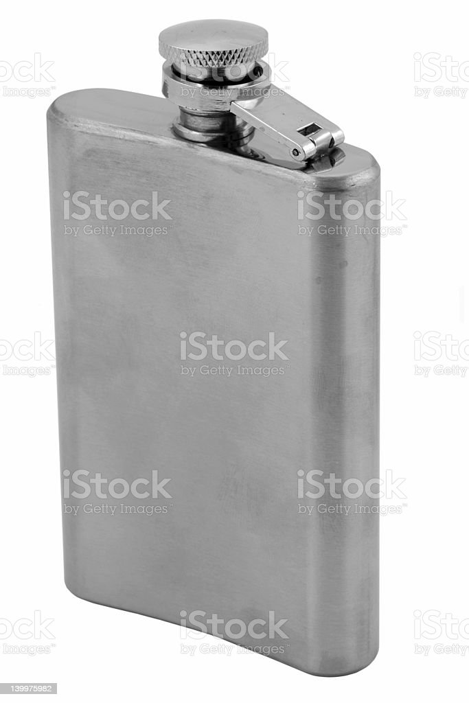 hip flask on pure white background royalty-free stock photo