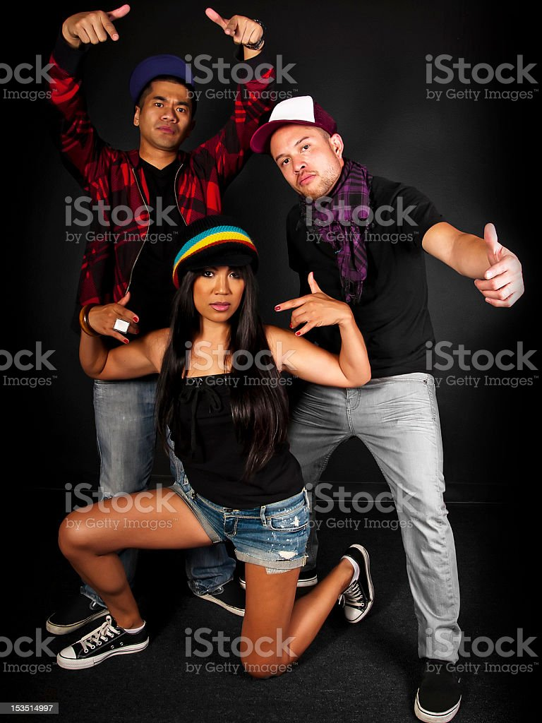 Hip Hop Dance Crew on a Black Background royalty-free stock photo