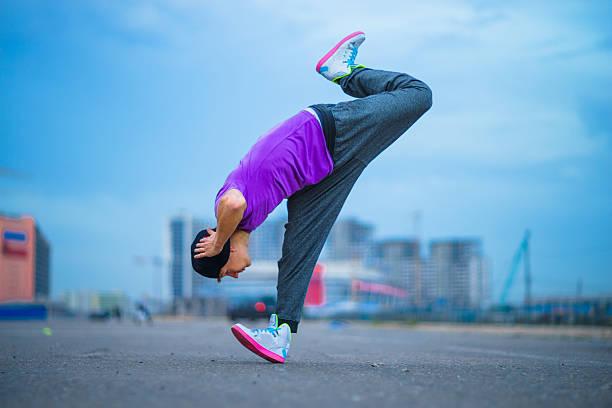 Hip Hop. Dancer in the street, teenage dancer, freeze stock photo