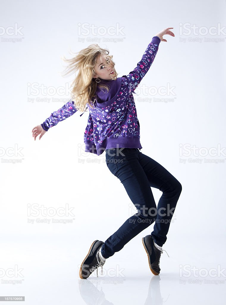 hip hop dancer standing on her toes royalty-free stock photo