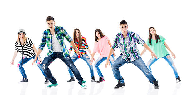 hip hop dancing. - dance group stock photos and pictures
