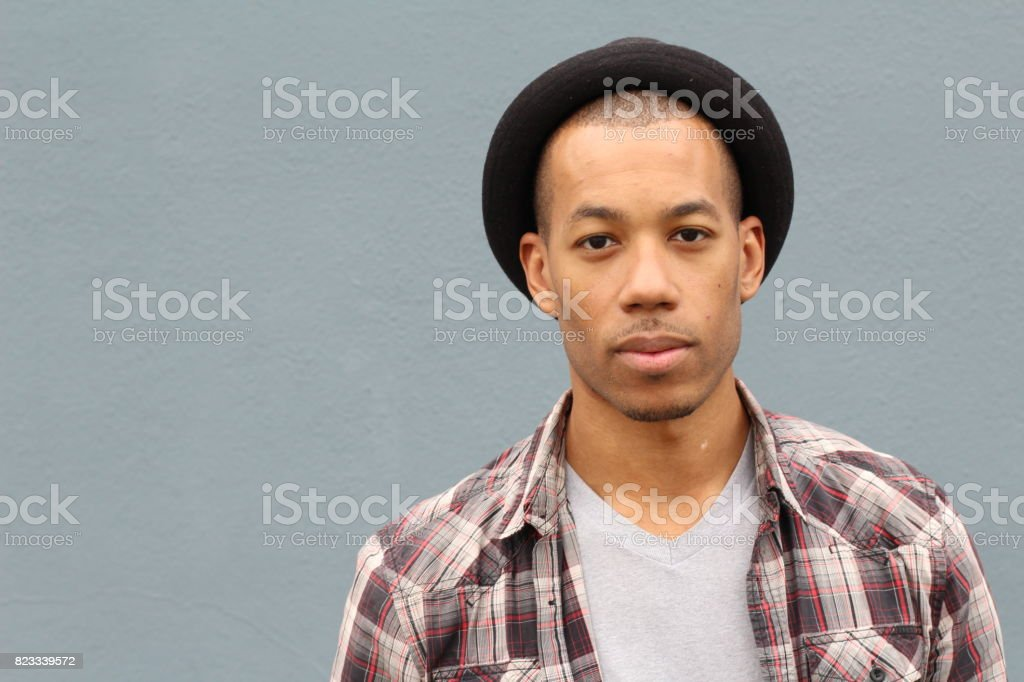 Hip man wearing a Fedora hat stock photo