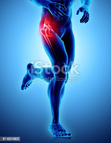 istock Hip painful skeleton x-ray, 3D illustration. 914924802
