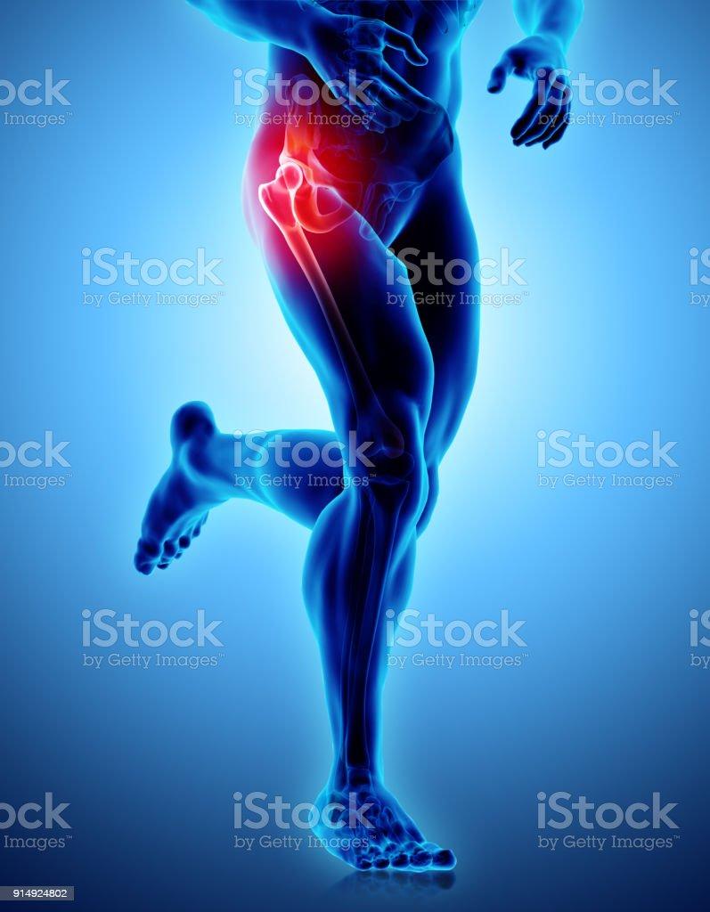Hip painful skeleton x-ray, 3D illustration. stock photo