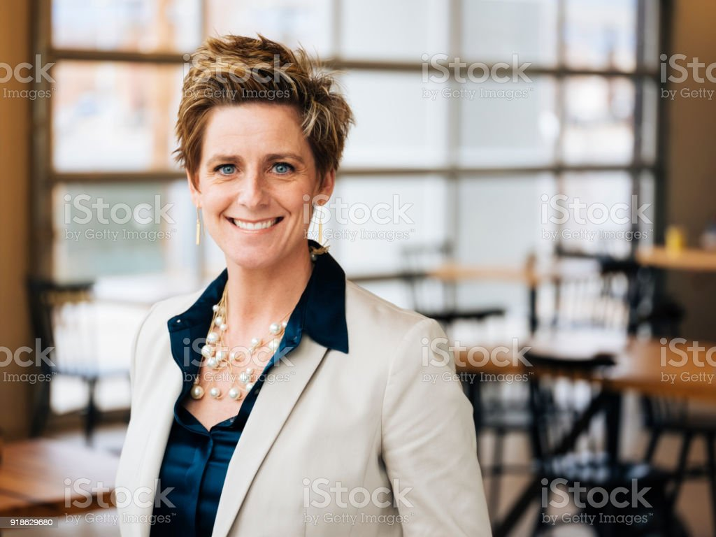 Hip Professional Portrait in a Coffee Shop stock photo