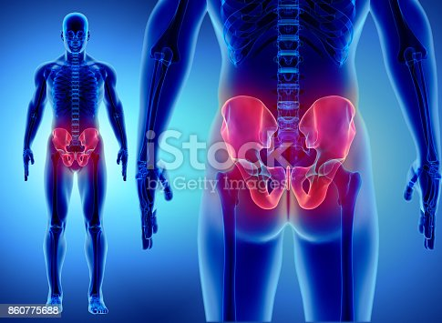 istock Hip Skeleton on blue background. 860775688
