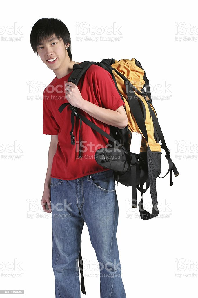 Hip young backpacker royalty-free stock photo