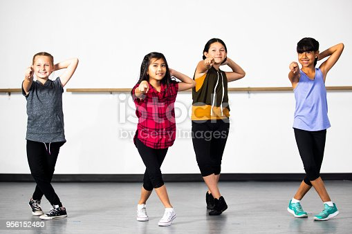 istock Hip-Hop Dance Group of Young Diverse Girls 956152480