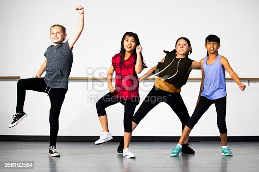 istock Hip-Hop Dance Group of Young Diverse Girls 956152584